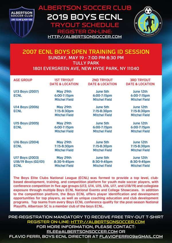2019/20 ECNL Tryouts